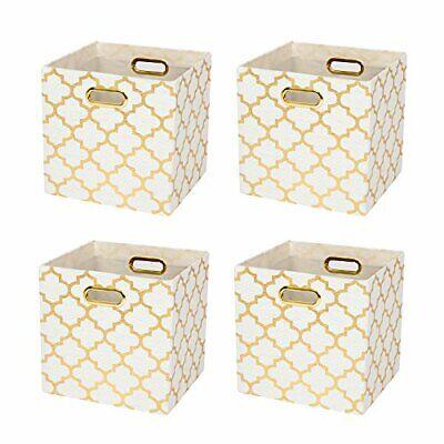 Storage Boxes Foldable Storage Cube Basket Bins,28×28×28cm Set of 4,cream/gold