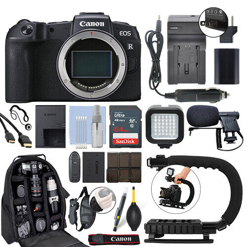 Canon EOS RP Mirrorless 26.2MP Digital Camera Body + 64GB Pro Video Kit