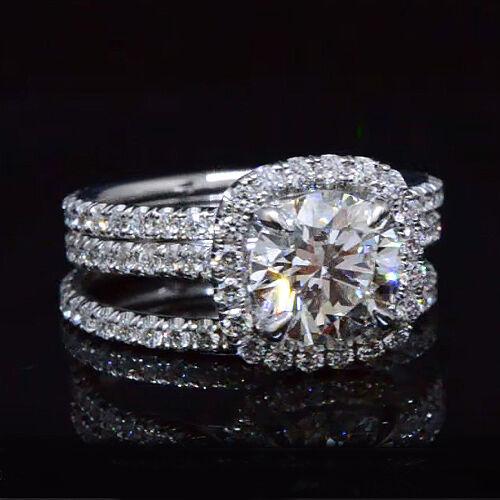 New 3.18 Ct Round Cut Diamond Cushion Halo Engagement Ring Set J,SI1 GIA 18K WG
