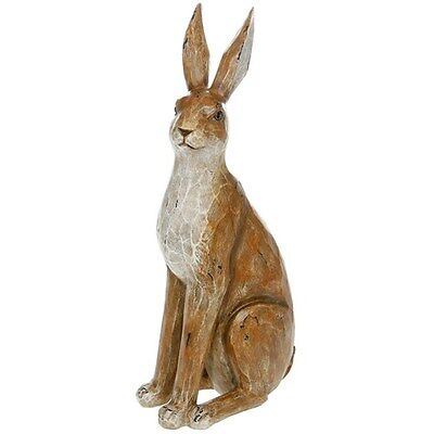 LARGE Rustic Brown Hare / Rabbit Ornament Figure NEW