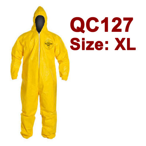 DuPont Tychem Coverall. Standard Hood. Elastic Wrists & Ankles - QC127S - XL