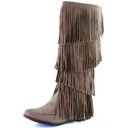 knee high fringe boots ebay