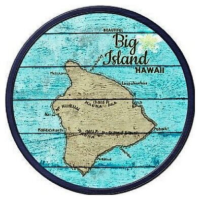 Indoor Outdoor Beautiful Big Island Hawaii Map Metal Round Circular Sign 12