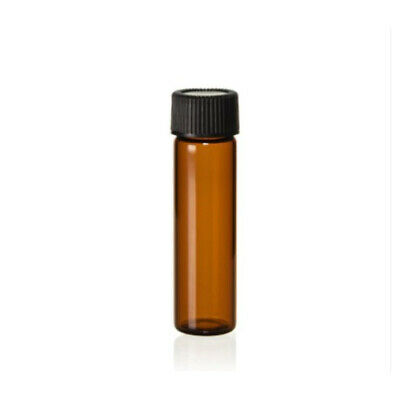Dram Amber Glass Vials With Caps - Pack Of 12 New