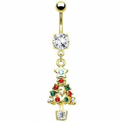 Christmas Belly Button Ring (Multi CZ Christmas Tree Dangle Belly Button Ring Gold IP 316L Surgical Steel )