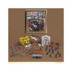 72 Piece Civil War Plastic Army Men Play Set ~ 52mm Union and Confederate New