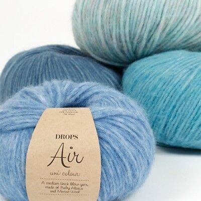 DROPS AIR Baby alpaca + merino SUPER SOFT Light weight blown Knitting yarn 50g ()