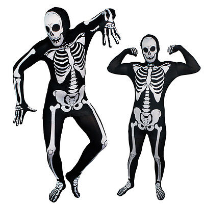 Full Body Black/White Spooky Skeleton Lycra Zentai Suit Halloween Party Costume](White Full Bodysuit Halloween)
