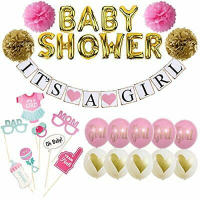 Baby Shower Decorations for Girl. It's A Girl Banner and Kit. Pink and Gold. - Decorations For A Baby Shower