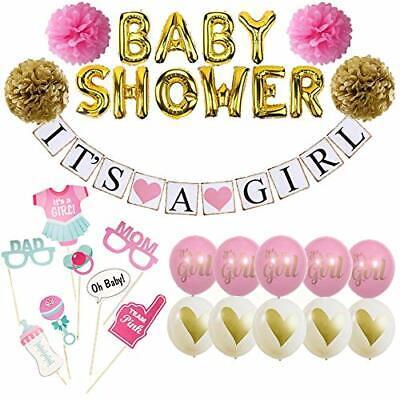 Baby Dusche Dekorationen für Mädchen. es 'S A Girl 'Banner und Set Pink und Gold ()