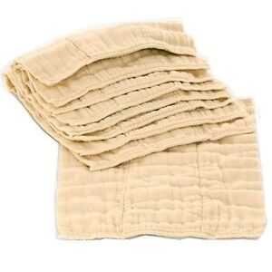 Osocozy 6 Pack Prefolds Unbleached Cloth Diapers Size 2 For Sale