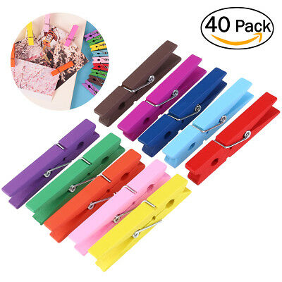 - 40Pcs Colorful Wood Clothespins Wooden Laundry Clothes Pins Large Spring 2.9inch