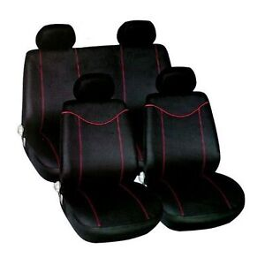universal car seat covers black red washable airbag safe full 10 piece set new ebay. Black Bedroom Furniture Sets. Home Design Ideas