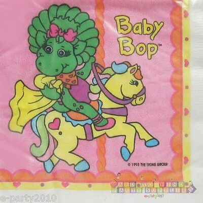 BABY BOP SMALL NAPKINS (16) ~ VTG Barney Birthday Party Supplies Cake Beverage - Barney Birthday Party Supplies