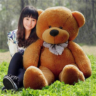 Giant 100cm 39'' Big Cute Brown Plush Teddy Bear Huge Soft 100% PP Cotton Toy