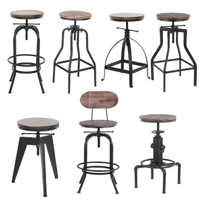 - Industrial Bar Stool Metal Wood Seat Retro Chair Height Adjustable Optional U7Z0