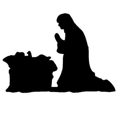Manger Scene Nativity Silhouette unmounted rubber stamp, Mary and baby Jesus #13