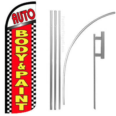 Auto Body Paint - Windless Swooper Flag Kit Feather Banner Sign - Chrq