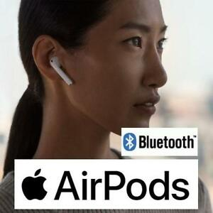RFB APPLE AIRPODS W/ CHARGING CASE MMEF2AM/A 213168576 BLUETOOTH WIRELESS IN EAR HEADPHONES REFURBISHED