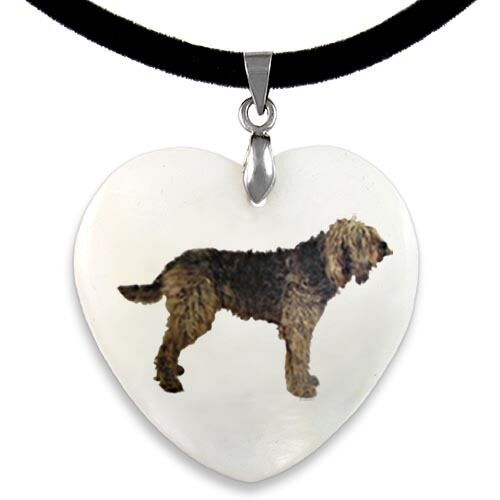 Otter Hound Natural Mother Of Pearl Heart Pendant Necklace Chain PP139