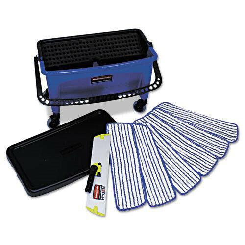 Rubbermaid 27 Gal Microfiber Floor Finishing System (Blue/Black/White) Q050 NEW