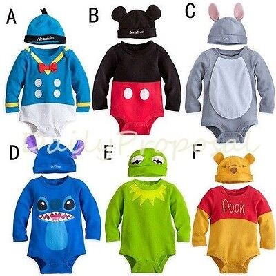 B1 Cartoon Disney Bodysuit Hat Baby Toddler Boy Girl Halloween Costume 12m-3T US