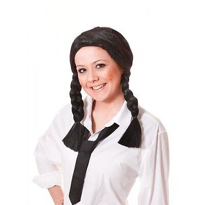 Kostüme Center (SCHOOL GIRL WIG black centre parting PLAITS pig tails)