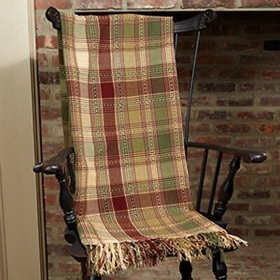 New Primitive Country Cottage Chic Green Red Wine Tan Plaid Woven Afghan Blanket