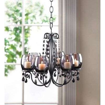 Beautiful Gothic Elegant Hanging Chandelier NEW Glass & Iron Candle Home Decor