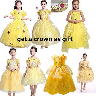 Girl Belle Princess Fancy Dress Beauty and the Beast Halloween Cosplay Costume](Princess Belle Halloween)
