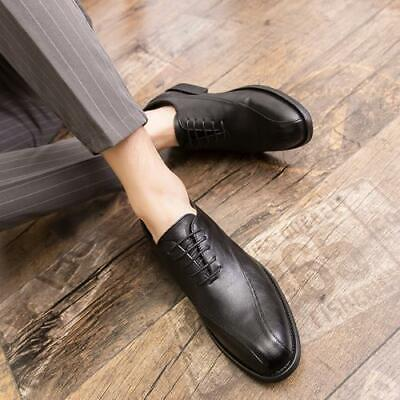Details about  /Mens Business Leisure Leather Shoes Lace up Work Office Pointy Toe Flats Casual