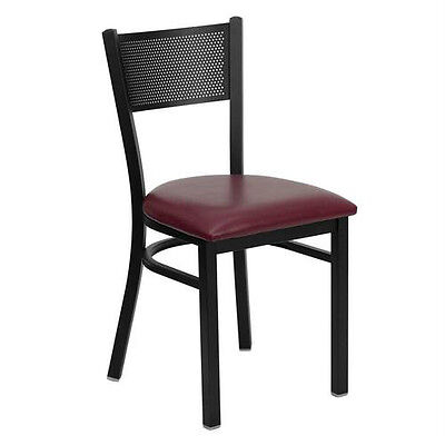 Black Grid Back Metal Restaurant Chair With Burgundy Vinyl Seat