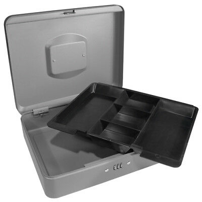 Barska 12 Inch Large Steel Cash Box Safe W Combination Lock In Grey Cb11788