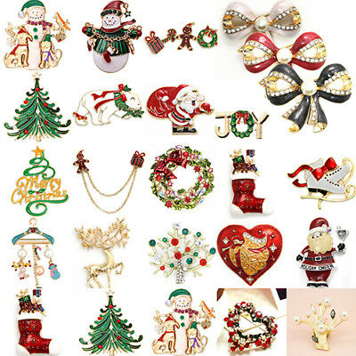 Christmas Enamel Brooch Pin Jewelry Rhinestone Alloy Wedding Party Decor Cheap (Christmas Cheap)