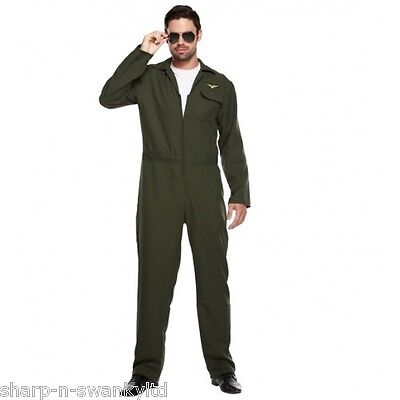 Erwachsene Herren Aviator Armee Militär Pilot Overall Kostüm Kleid - Aviator Pilot Kostüm