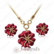 Flower Necklace Earring Set Swarovski Crystal
