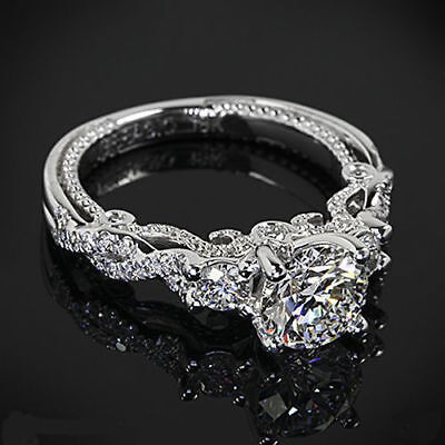 CERTIFIED VINTAGE 2.45CT WHITE ROUND CUT DIAMOND WEDDING RING IN 14KT WHITE GOLD