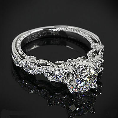 Ring - CERTIFIED VINTAGE 2.45CT WHITE ROUND CUT DIAMOND WEDDING RING IN 14KT WHITE GOLD