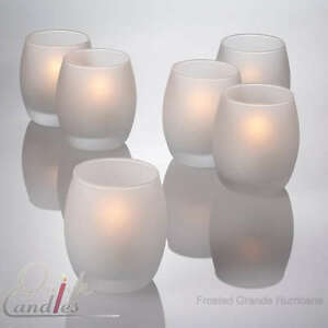 Lot-of-12-Grande-Frosted-Hurricane-Votive-Candle-Holder