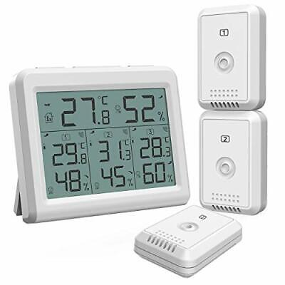 AMIR Indoor Outdoor Thermometer Temperature Humidity Monitor w/3 wireless Sensor