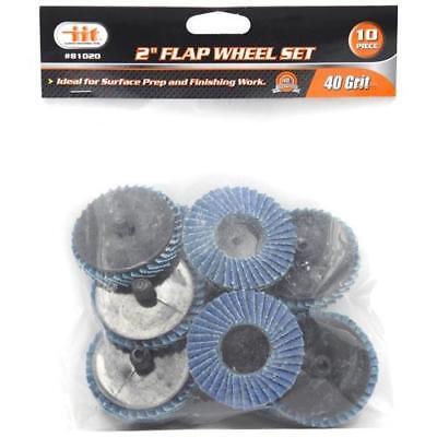 "10pc 2"" 40 Grit Flap Wheels Zirconia Surface Discs 1/4"" Roloc Grinding 81020"