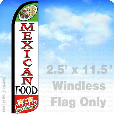 Hot Mexican Food - Windless Swooper Flag Feather Banner Sign 2.5x11.5 Wz