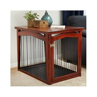 Dog Crate Gate Wood Large Multi Divider Puppy Kennel Bed Furniture End Table NEW