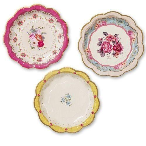 vintage style paper plates Talking tables truly scrumptious vintage floral paper napkins (33cm) for a tea party, summer or birthday party, multicolor (20 pack) by talking tables £303 £375 prime.
