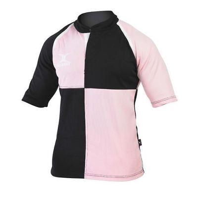 Gilbert Xact Rugby Jersey (MEN'S GILBERT XACT RUGBY JERSEY 3/4 SLEEVE PINK/BLACK XS BOYS BNWOT UK FREE P&P)