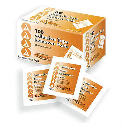 100 DYNAREX ADHESIVE TAPE REMOVER PADS 100/BOX INDIVIDUALLY WRAPPED REMOVAL PADS Adhesive Tape Remover Pads