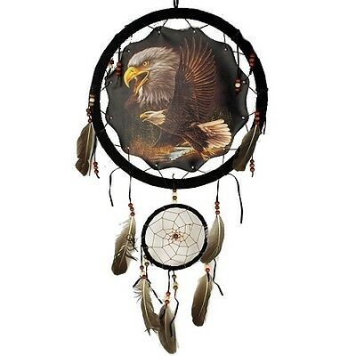 "Large 13"" Hoop Eagle Native American-Style Mandala Dream Catcher Decor Wall Art"