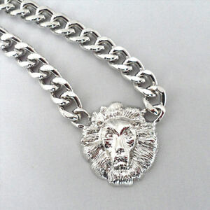 1pc Trendy Shiny Gold/Silver Lion Head Chunky Choker Chain Pendant Necklace Hot