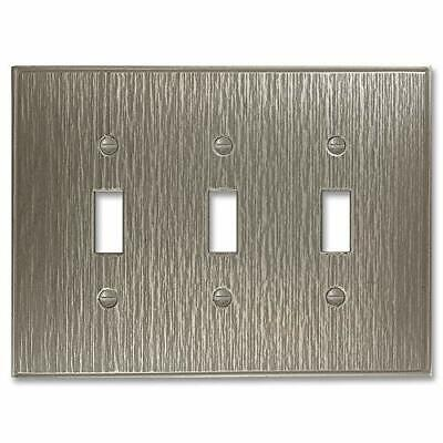 Triple Toggle - Brushed Nickel Light Switch Cover Twill Cast Metal Decorative...
