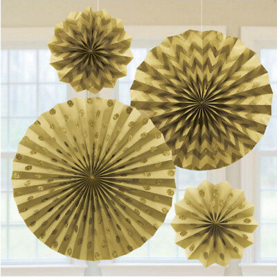 GOLD GLITTER PRINTED PAPER FAN DECORATIONS (4) ~ Birthday Party Supplies Decor - Gold Glitter Party Decorations